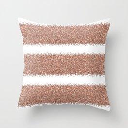 Rose gold glitter stripes Throw Pillow