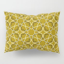Moroccan pattern, Morocco. Patchwork mosaic with traditional folk geometric ornament black gold. Pillow Sham