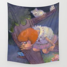 Two Little Girls and the Owl Playing Hide and Seek Wall Tapestry