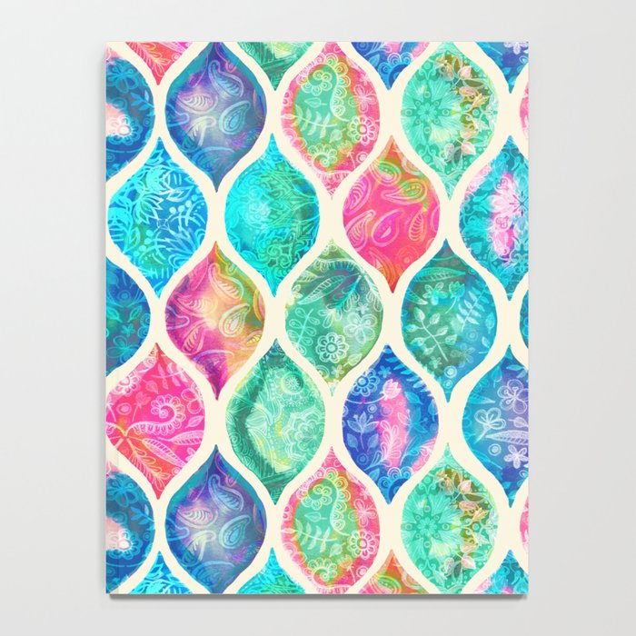 Watercolor Ogee Patchwork Pattern Notebook