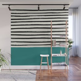 Teal x Stripes Wall Mural