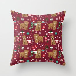 Bichpoo christmas dog breed holidays pet gifts pet friendly stockings candy canes snowflakes Throw Pillow