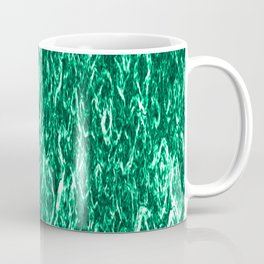 Vertical metal texture of bright highlights on turquoise waves. Coffee Mug