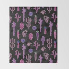 Cactus Pattern On Chalkboard Throw Blanket