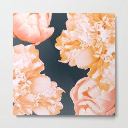 Peach Colored Flowers Dark Background #decor #society6 #buyart Metal Print