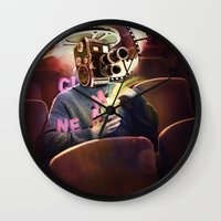 cinema Wall Clocks featuring Cinema Poster by Bruno Marinho