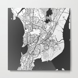 Mumbai Map Gray Metal Print