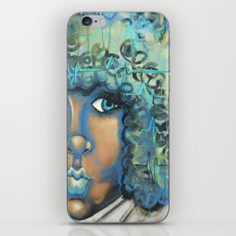blue heartbeat iPhone Skin