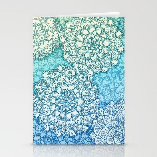 Blue Green Ballpoint Pen Doodle Poem Stationery Cards
