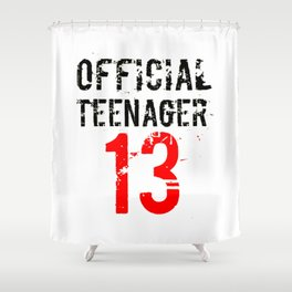 Official Teenager Black Red 13 Birthday Shower Curtain