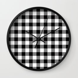 90's Buffalo Check Plaid in Black and White Wall Clock