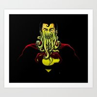 cthulu Art Prints featuring SuperCthulhu by 6amcrisis