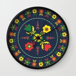 Folk Flowers with Green  Border Wall Clock
