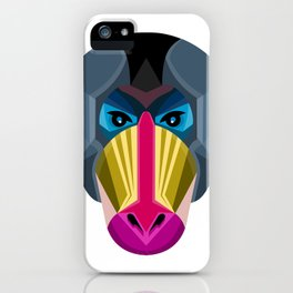 Male Mandrill Head Flat Icon iPhone Case