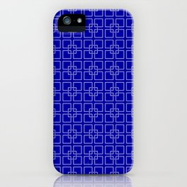Dark Earth Blue and White Interlocking Square Pattern iPhone Case