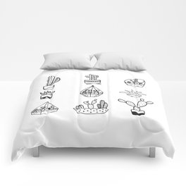 Minimalist Cacti Collection Black and White Comforters