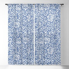 Blue Tudor Rose Damask Sheer Curtain