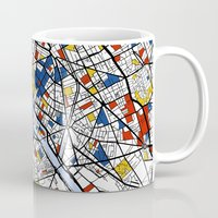 paris map Mugs featuring Paris by Mondrian Maps