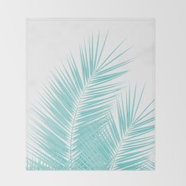Soft Turquoise Palm Leaves Dream - Cali Summer Vibes #1 #tropical #decor #art #society6 Throw Blanket