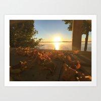 Cottage Sunset Art Print