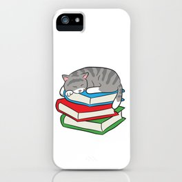 Sleeping Cat On Books 1st Day Of School Cats Librarian Cat iPhone Case