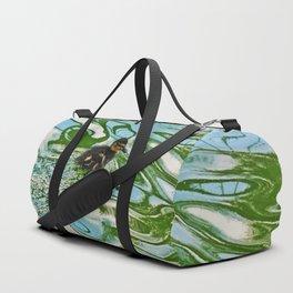Mallard duckling swimming Duffle Bag