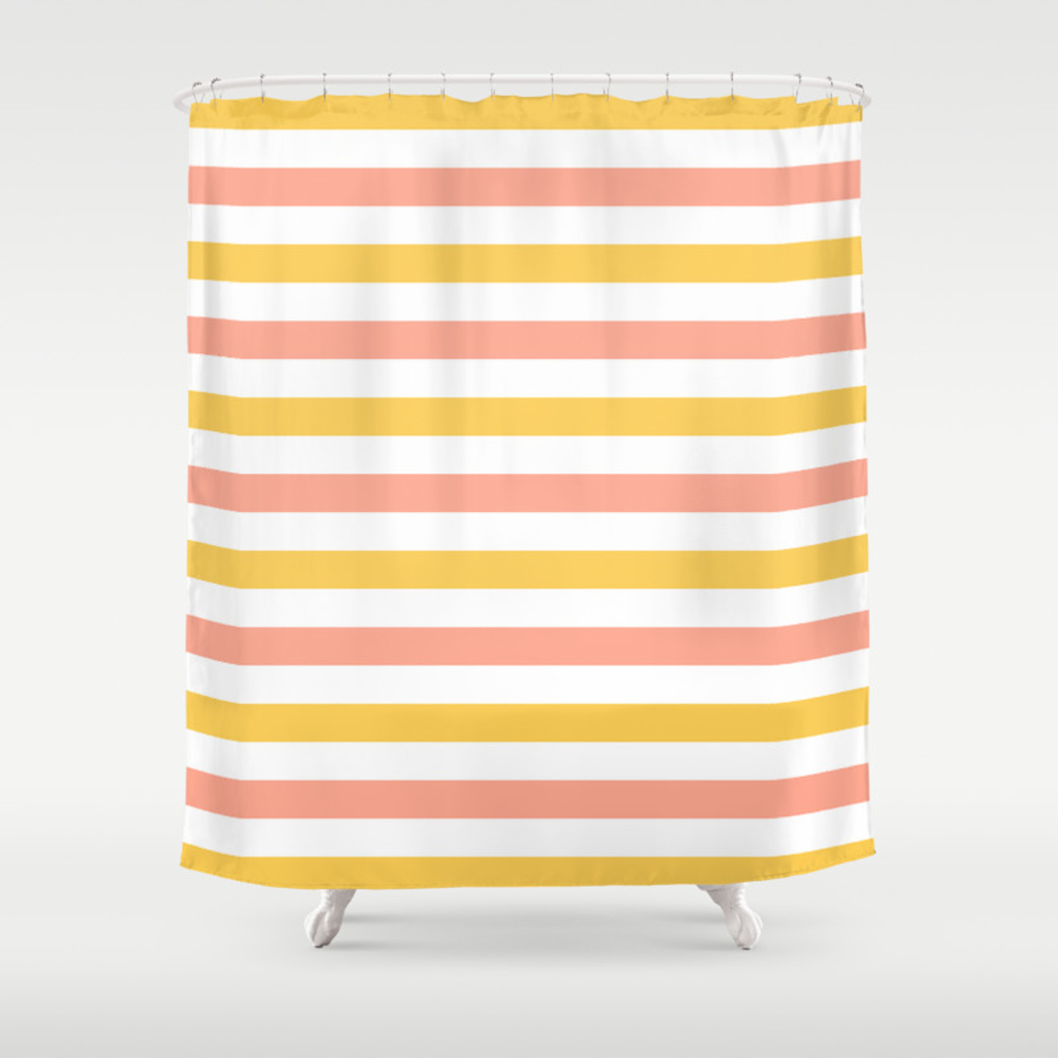 Yellow Coral And White Horizontal Stripes Shower Curtain