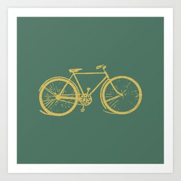 Gold Bicycle on Turquoise Art Print