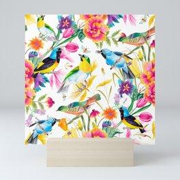 Birds Colourful Floral Motif Pattern Tropical decor Spring Flowers Mini Art Print