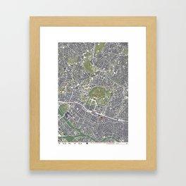 Tokyo city map engraving Framed Art Print