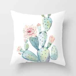 Pastel watercolor prickly pear cactus Throw Pillow