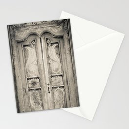 The door of the white building at the entrance to the Royal Rock Temple complex location Dambulla Stationery Cards