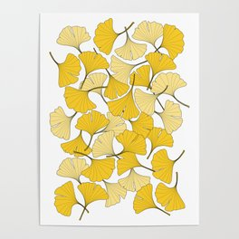 ginkgo leaves (yellow) Poster