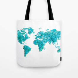 Turquoise Sea Glass World Map Tote Bag
