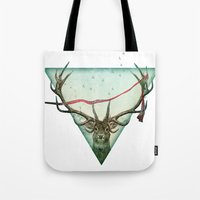 runner Tote Bags featuring scarlet runner by Vin Zzep