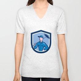 Chimney Sweep Worker Shield Cartoon Unisex V-Neck