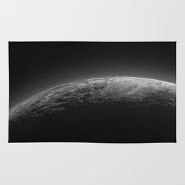 Cool Black and White Surface Terrain of Pluto Rug