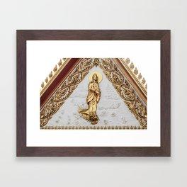 Woman and dragon Framed Art Print