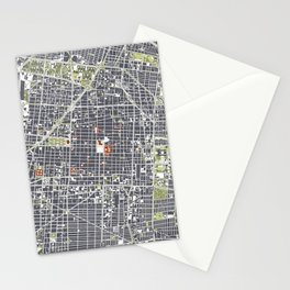 Mexico city map engraving Stationery Cards