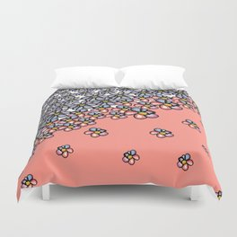 Over Flowers: Blue + Pink Duvet Cover