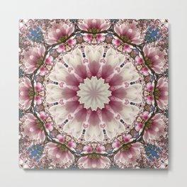 Floral mandala-style, pink blossoms, flower mandala Metal Print