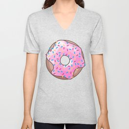 Pink Strawberry Donut Unisex V-Neck
