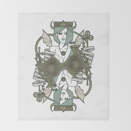 SINS Mentis - Envy Queen of Clubs Throw Blanket