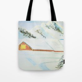 winter. house with tree Tote Bag