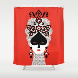 The Queen of spades Shower Curtain