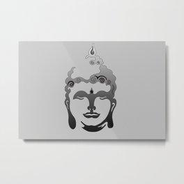 Buddha Head grey black Design Metal Print