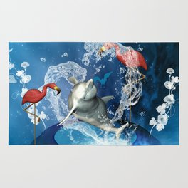 Dolphin jumping by a heart Rug