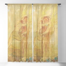 """Odilon Redon """"Jacob Wrestling with the Angel"""" Sheer Curtain"""