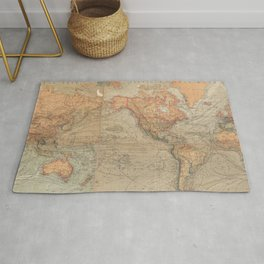 Vintage Map of The World (1870) Rug