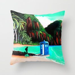 Tardis With Beauty Mermaid Throw Pillow